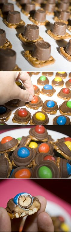 M & M's Rolo Pretzel Bites...I make these w pecans instead of m better and more classy for adult parties