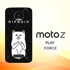 ripndip white cat with midle finger L0940 Motorola Moto Z Force Case