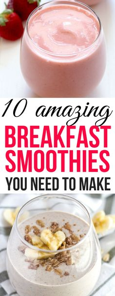These breakfast smoothies are healthy,easy to make and they taste great! Definitely pinning this!