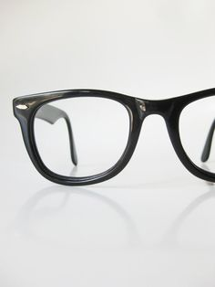 1980s Black Horn Glasses Mens Guys Optical Frames Mid Century Modern Mad Men Homme Guys Oversized Classic 80s Obsidian Midnight Eighties