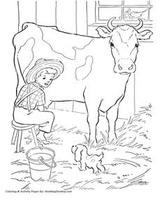 Cow Coloring page   Milking the cow