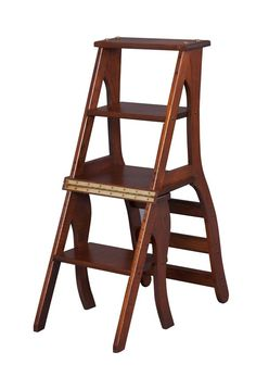 Library Step Stool Chair Combo This wooden library step stool with one easy motion converts into a comfortable chair. Just flip the back of the chair over and you have a convenient