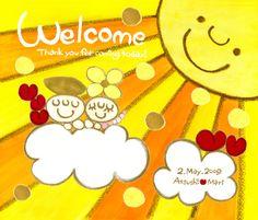 ウェルカムボード  優しい手作り感 「太陽と花(フラワー)とハート」