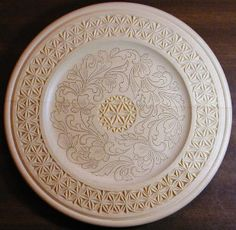 Chip carved and kolrosed plate, Judy Ritger