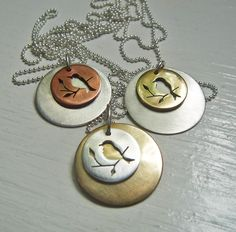 Little Bird   Double Disk Necklace 3/4 in by janeeroberti on Etsy, $78.00