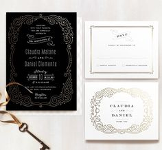 Minted Black and Gold Foil Americana Inspired Wedding Suite
