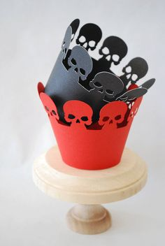 Halloween Skull Cupcake Wrappers Set of 12  by YourlittleCupcake, $10.00
