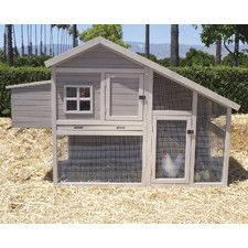 """Extreme Cape Cod Chicken Coop. 48.03"""" x 73.62"""" x 31.97"""". Wood with pull out tray & nesting box. 2 levels. Room for 4 chickens. 35.2lbs."""