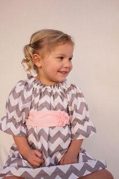 Girls chevron dress, chevron easter dress,Easter dress, pink and gray Valentines dress, $52.00