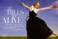 """The Hills Are Alive"": Eva Herzigova Plays Sound of Music by Terry Richardson for US Harper's Bazaar"