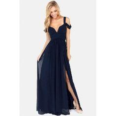 Side Split Solid Navy Blue Ankle Length Dress