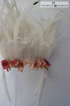 Flower & White Feather Crown Headdress by by ParadiseGypsies