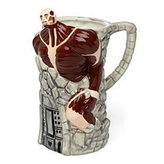 Found at ThinkGeek.com THE FALL OF THE SHIGANSHINA DISTRICT  That horrible moment when the Colossal Titan breaches Wall Maria Forever immortalized in this ceramic beer stein Have a drink while you run for your life! For quite some time, humans lived peacefully inside the walls... if you can call it peace. Sure life went somewhat smoothly, if you forgot about the giant horrors stalking around outside. And then the Colossal Titan breached Wall Maria, and everything changed. As the world turned…