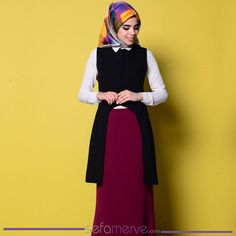 f486a40be28da Asimetrik Yelek 3102A-07 Siyah #sefamerve #tesetturgiyim #tesettur #hijab  #tesettür