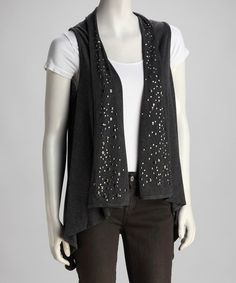 Take a look at this Charcoal Stud Open Vest by Papillon Imports on #zulily today!