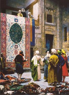 Artist: Jean Leon Gerome Merchants, craftsmen, and wealthy buyers discuss terms over the purchase of an exquisite and large handcrafted carpet. The