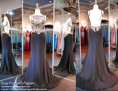 Black Satin Jersey Formfitting Evening Gown-Gold Embellishments-High Neckline-Open Low Back-116EC0160510