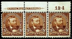 US #270 5c Choc Brown 1895 Durland Plate #134 Imprint  Strip of 3 MLH Full Gum  - 20% Off Classic Stamp Sale All Weekend at stores.ebay.com/... or LittleArtTreasure.com