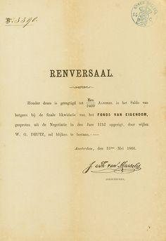 W. G. Deutz Amsterdam, 31.05.1866, Renversaal über 1/2.409tel Anteil, #3390, 24,5 x 16,8 cm, schwarz, beige, Knickfalten, etwas gebräunt.
