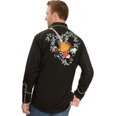 China Scully Guitar & Floral Embroidery Retro Western Shirt on sale