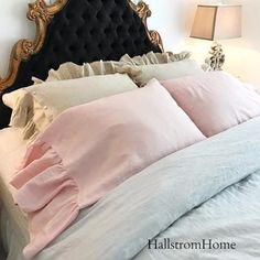 Youngsters Area Home Furnishings Ruffle Shabby Chic Linen Pillow Shams Hallstromhome Shabby Chic Bedrooms, Shabby Chic Homes, Shabby Chic Style, Shabby Chic Furniture, Shabby Chic Decor, Romantic Bedrooms, Shaby Chic, Linen Pillows, Linen Bedding