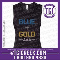 TGI Greek - Delta Delta Delta - Greek T-shirts - Cut off Tanks - Blue and Gold - Tri Delta