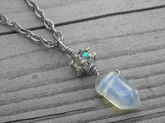 Blue Moonstone Crystal Point Necklace Iridescent Opal Crystal Jewelry Rainbow Moonstone Opalite Jewel Bead Silver Bohemian Boho Birthstone