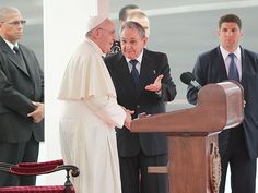 """PHOTOS: How Cuba Is Preparing for the Pope's Arrival      Francis met with President Raul Castro during an arrival ceremony at the airport in Havana. During the reception, both Castro and the pope gave speeches, with the latter saying conversations between Cuba and the United States is """"a sign of the victory of the culture of encounter and dialogue."""""""