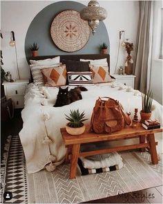 Bedroom Inspo, blue color block Bohemian Bedroom Design, Bohemian Rug, Modern Bohemian, Bohemian Lighting, Bohemian Painting, French Bohemian, White Bohemian, Moroccan Bedroom Decor, Bohemian Style Bedding