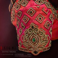 Diamonds with a floral twist. Beautiful pink color bridal designer blouse sleeve with floral design hand embroidery kundan and bead work. for bookings plz call- Cutwork Blouse Designs, Wedding Saree Blouse Designs, Simple Blouse Designs, Stylish Blouse Design, Blouse Neck Designs, South Indian Blouse Designs, Maggam Work Designs, Hand Work Blouse Design, Designer Blouse Patterns