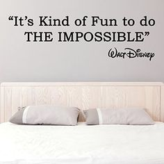 (47'' x 15'') Vinyl Wall Decal Quote It's Kind of fun to do the impossible / Walt Disney Sayings Sticker / Inspirational Text Decals   Free Decal Gift! -- More info could be found at the image url.