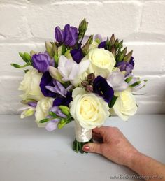 Purple and Cream Wedding Flowers - Brides Bouquet with Lilac Freesia, Purple Lissianthus and Ivory Rose in a hand tied Bouquet Side View Prom Bouquet, Bride Bouquets, Bridesmaid Bouquets, Cream Wedding, Our Wedding, Ivory Wedding, Wedding Ideas, Purple Wedding Flowers, Wedding Colors