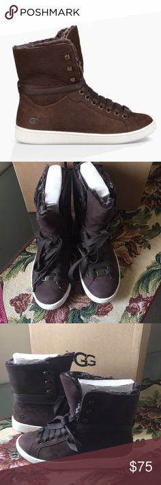 💕NEW UGG STARLYN CHOCOLATE Off-duty has never looked so on-point. Made from rich leather, this cuffable style is finished with a cool pop of metal at the laces. Leather Metal eyelets and lace clip PORON® and EVA insole Leather insole lining Rubber outsole Cuffable collar with sheepskin UGG Shoes Athletic Shoes