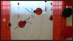 lady bug cake cutting backdrop Bug Cake, Lady Bug, First Birthdays, Backdrops, Clock, Wall, Home Decor, Ladybug, Watch