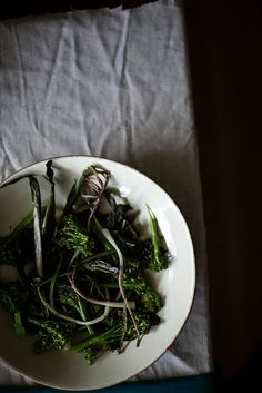 roasted ramps & broccolini for dipping in lovage aioli by Beth Kirby Ricotta Ravioli, Hot Pepper Jelly, Local Milk, Creamy Rice, Slow Food, Stuffed Hot Peppers, Cucumber, Food And Drink, Veggie Recipes