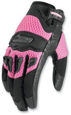 Amazon.com: Icon Twenty-Niner Women's Leather/Mesh Road Race Motorcycle Gloves - Pink / X-Large: Automotive