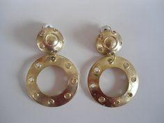 Mooie gouden vintage statement oorbellen, klipoorbellen, jaren 80 stijl. Geen verzendkosten! door SammiesVintage op Etsy