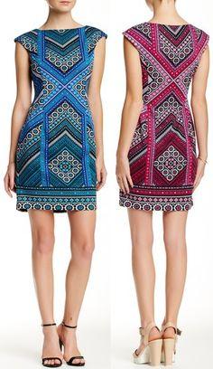 London Times Cap Sleeve Placement Print Sheath Dress Petite