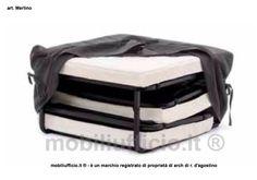 art. Merlino – #pouff #letto con rete #ortopedica elettrosaldata, e tessuto di rivestimento in poliestere #sfoderabile disponibile in due colori, #materasso trapuntato in canvas h. 8 cm.