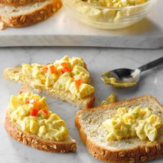 Egg salad is a refreshing, tasty change from lunchmeat or peanut butter sandwiches. The touch of mustard and lemon juice gives it extra zip. —Annemarie Pietila, Farmington Hills, Michigan