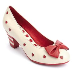 """Lola Ramona """"Elsie"""" Women's Mid Heels. Retro / Vintage Inspired. Red and Cream Stripes and Heart Cut-Out Detail. Bow Feature."""
