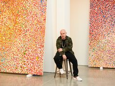 "Damien Hirst's Post-Venice, Post-Truth World - From left, ""Veil of Love's Pleasure"" and ""Veil of Eternal Happiness"" Every work in his new series was done by his hand alone, he said. Polka Dot Artist, Damien Hirst Paintings, Gagosian Gallery, Yayoi Kusama, Dot Painting, New Series, New Shows, Ny Times, Artist At Work"