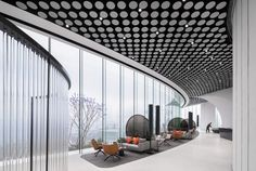 Gallery of SOHO WuJiaoChang Coworking Space / Ippolito Fleitz Group - 13 Coworking Space, Soho, Open Ceiling, Sales Center, Translucent Glass, Terrazzo Flooring, Glass Facades, Chongqing, Real Estate Development