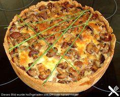 de Rezept: Champignon – Speck – Quiche You are in the right place about pizza recipes - Chicken Pizza Recipes, Quiche Recipes, Tart Recipes, Beef Recipes, Meatball Recipes, Quiches, Bacon Quiche, Homemade Burgers, Stuffed Mushrooms