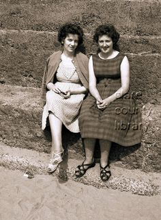 Two women. Picture of two women sitting down on steps by Lahinch beach. Ireland, Beach, Pictures, Vintage, Women, Style, Fashion, Relationships, Photos