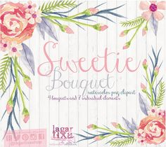 Watercolor Floral clipart, PNG, wedding bouquet, arrangement, bouquet, frames, digital paper, blue flowers, bridal shower, for blog banner