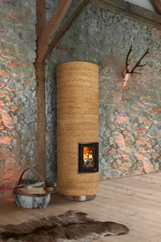 Rustic and yet modern: The BRUNNER small storage oven in rammed earth optics. Rammed Earth Homes, Rammed Earth Wall, Outdoor Fireplace Designs, Wood Architecture, Tiny House Cabin, Natural Building, Earthship, Stone Houses, Small Storage