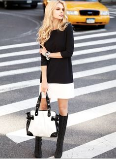 Black and white fall look street style<3