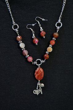 NECKLACE & EARRINGS  Beaded Jewelry Set Gemstone by LKArtChic