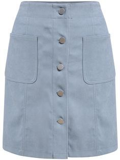 Shop Single Breasted Pockets Suede Blue Skirt at ROMWE, discover more fashion styles online. Jean Skirt Outfits, Man Skirt, Beautiful Dress Designs, Boho Fashion, Fashion Outfits, Lace Up Skirt, Western Dresses, Denim Outfit, Casual Skirts